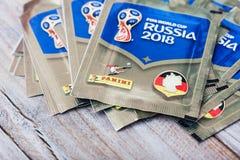 Paninistickers voor voetbalwereldbeker Rusland 2018 Royalty-vrije Stock Fotografie