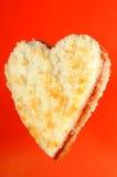 Panino alla marmellata a forma di del cuore Immagine Stock
