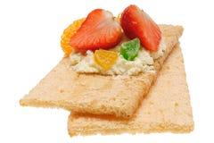 Panino aperto calorico basso Isolato su bianco Fotografia Stock