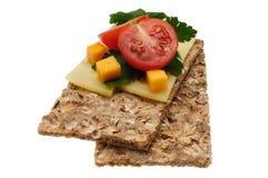Panino aperto calorico basso Isolato sul bianco Fotografie Stock