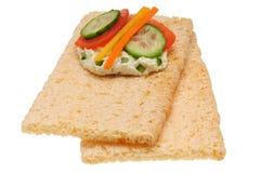 Panino aperto calorico basso Isolato sul bianco Fotografia Stock