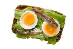 Panino aperto con l'uovo e l'acciuga, vista superiore Fotografie Stock