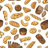 Panino, bagel, baguette ed altri alimenti del forno Modello senza cuciture di vettore nel retro stile illustrazione di stock