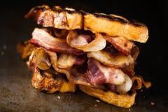 Panino butty del bacon inglese rustico immagini stock libere da diritti