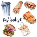 Panino caldo, hamburger, patate fritte in grasso bollente, bevanda, hot dog Isolato su priorità bassa bianca Fotografia Stock