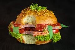 Panino con carne di maiale e ortaggi freschi e verdi fotografia stock libera da diritti