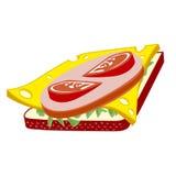 Panino con formaggio, salame ed i pomodori Fotografia Stock