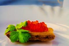 Panino con il caviale rosso immagini stock libere da diritti
