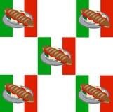 Panino con il modello italiano del fondo della bandiera Fotografie Stock Libere da Diritti