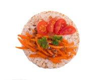 Panino con il pomodoro e la carota Fotografia Stock
