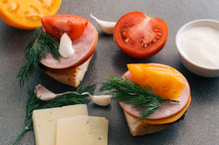 Panino con il prosciutto, i pomodori ed il formaggio immagini stock