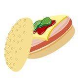 Panino con il prosciutto, il formaggio ed il catchup Immagini Stock