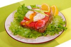 Panino con il salmone affumicato e l'uovo affogato Fotografie Stock Libere da Diritti