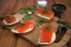 Panino con il salmone e burro e spezie salati Fotografia Stock