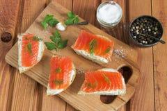 Panino con il salmone e burro e spezie salati Immagine Stock Libera da Diritti