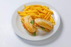 Panino con il salmone, il pomodoro, il formaggio e le patatine fritte dorate Fotografia Stock