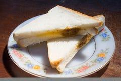 Panino con la carne di maiale di Shreded e la crema dell'insalata Fotografia Stock Libera da Diritti