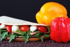 Panino con la mozzarella e gli ortaggi freschi Fotografia Stock