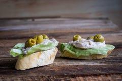 Panino con le olive Fotografia Stock