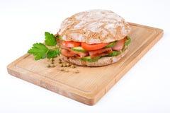 Panino con pancetta affumicata Fotografia Stock Libera da Diritti
