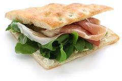 Panino de Focaccia, sanduíche italiano Fotografia de Stock