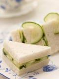 Panino del cetriolo su pane bianco Fotografia Stock