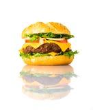 Panino del cheeseburger isolato su fondo bianco Fotografie Stock Libere da Diritti