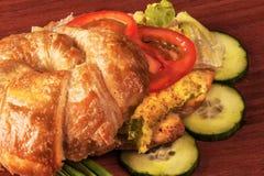 Panino del croissant Fotografie Stock Libere da Diritti