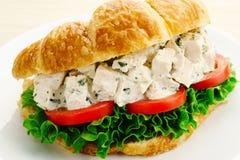 Panino del croissant dell'insalata di pollo fotografie stock