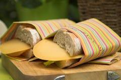 Panino del formaggio e del prosciutto Fotografia Stock