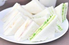 Panino del formaggio e del prosciutto, panino dell'alga Fotografie Stock Libere da Diritti