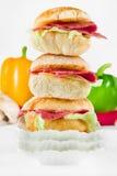 Panino del pane di Ciabatta con il prosciutto Fotografia Stock Libera da Diritti
