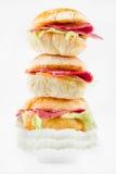 Panino del pane di Ciabatta con il prosciutto Immagine Stock Libera da Diritti