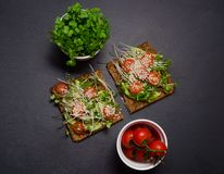 Panino del pane tostato dell'avocado con pane nero Panino sano Alimento sano Panino sano del vegano del pane tostato panino con l Immagine Stock