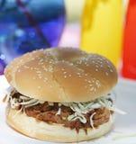 Panino del porco del BBQ Fotografie Stock Libere da Diritti