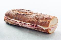 Panino del prosciutto e del formaggio Immagine Stock