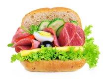 Panino del salame Immagine Stock Libera da Diritti