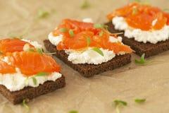 Panino del salmone affumicato con il primo piano del formaggio cremoso Spuntino saporito fotografia stock