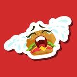 Panino dell'hamburger che grida alto, autoadesivo sveglio di Emoji su fondo rosso Fotografia Stock