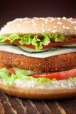 Panino dell'hamburger dei pesci o del pollo fritto Fotografie Stock