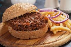 Panino dell'hamburger della carne tritata Fotografia Stock Libera da Diritti