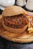 Panino dell'hamburger della carne tritata Immagini Stock
