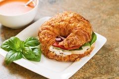 Panino dell'insalata di pollo e minestra del pomodoro Fotografia Stock