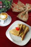 Panino della prima colazione con caffè Immagine Stock