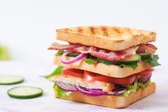 Panino di club con il petto di pollo, bacon, pomodoro, cetriolo immagine stock libera da diritti