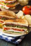 Panino di club del bacon e della Turchia Immagini Stock
