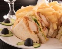 Panino di club e patate fritte in un piatto bianco Fotografia Stock