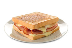 Panino di panini del formaggio e del prosciutto Fotografie Stock