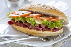 Panino di prosciutto gastronomico Fotografie Stock
