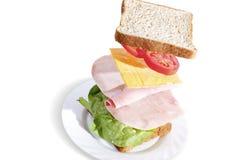 Panino di prosciutto squisito con il pane del grano intero Immagine Stock